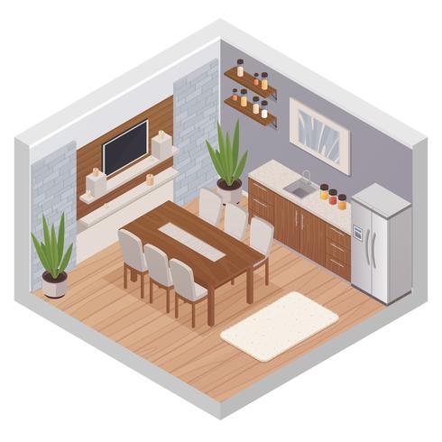 Interior isométrica da cozinha com TV vetor