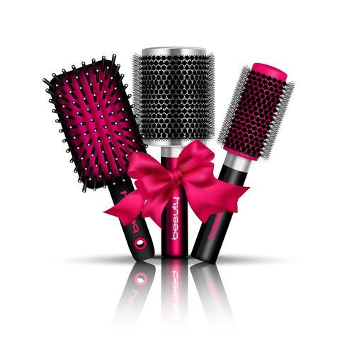 Composição de escova de cabelo vetor