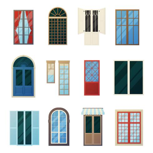 Muntin Bars Window Panels Icons Set vetor
