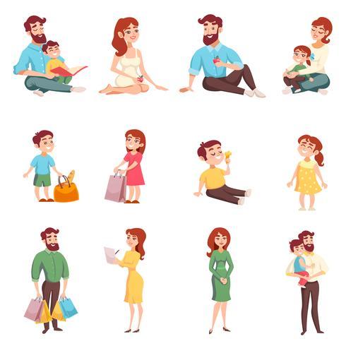 Família de membros do estilo dos desenhos animados vetor