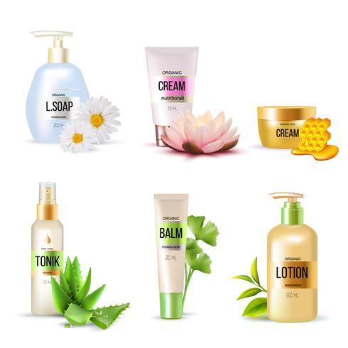 Conjunto de cosméticos orgânicos vetor