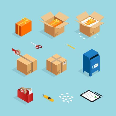 Pacote de embalagem de encomenda postal vetor