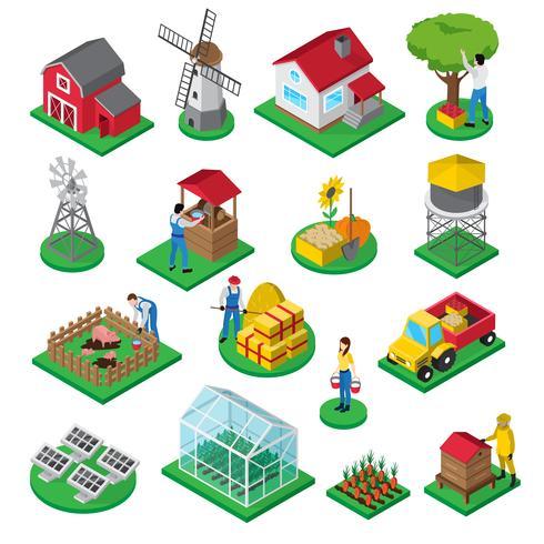 Conjunto de ícones isométrica de trabalhadores de instalações agrícolas vetor