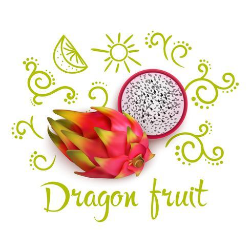 rabiscos em torno de fruta do dragão vetor