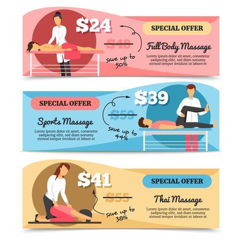 Banners de massagem e cuidados de saúde vetor