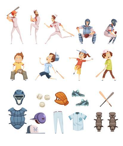 Conjunto de ícones de estilo retrô de beisebol dos desenhos animados vetor