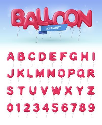 Conjunto de ícones realista de alfabeto de balão vetor