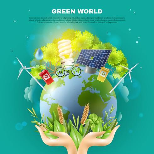 Poster verde da composição do conceito da ecologia do mundo vetor