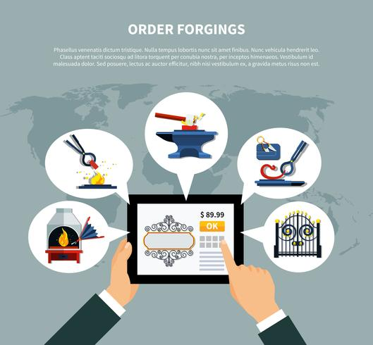 Encomenda de produtos forjados online vetor