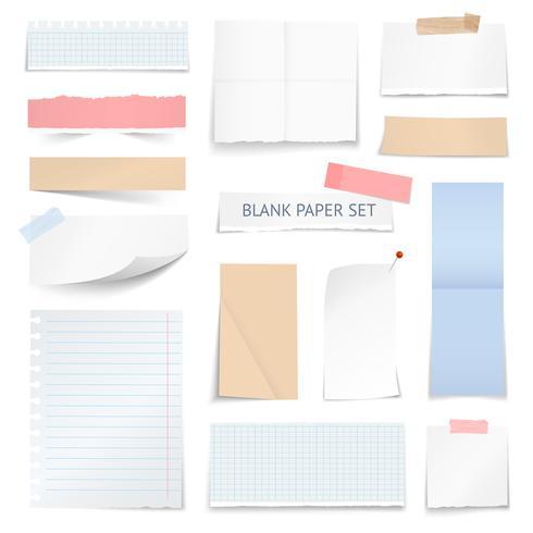 Folhas de papel em branco tiras coleção realista vetor