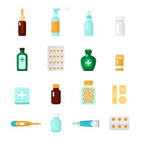 Conjunto de ícones de medicamentos vetor