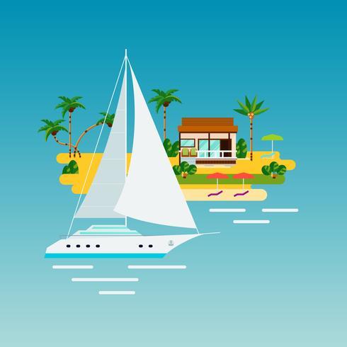 Composição de férias de iate tropical vetor