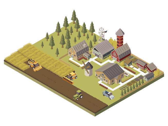 Edifícios agrícolas e ilustração de campos cultivados vetor