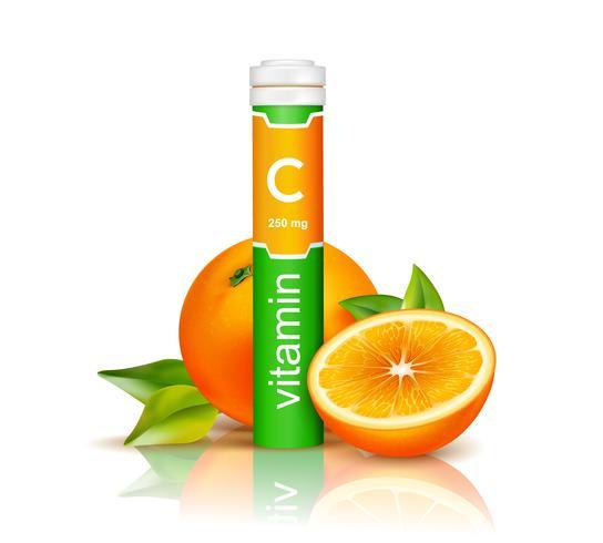 Ilustração 3D de vitamina C vetor