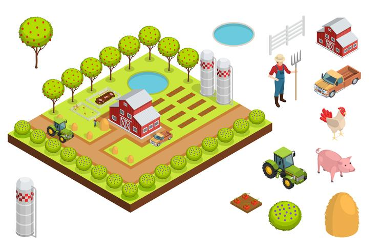 Composição isométrica de fazenda vetor