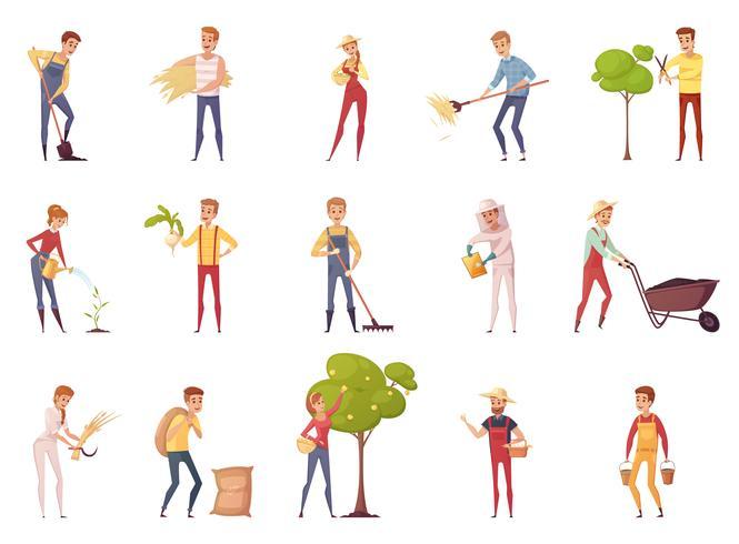 Conjunto de ícones de personagens de jardineiro vetor