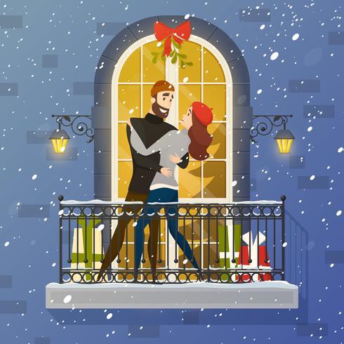 Ilustração lisa da cena romântica do balcão pôster vetor