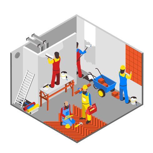 Composição Interior de Redecoração vetor