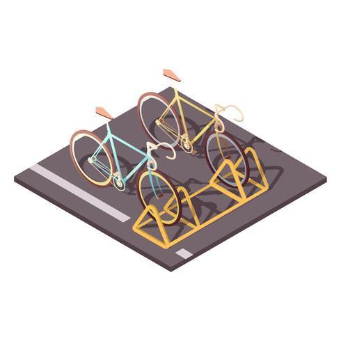 Conceito de estacionamento de bicicletas vetor