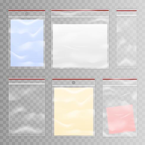Conjunto de saco de plástico transparente completo e vazio vetor