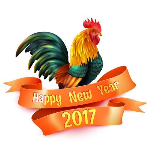 Símbolo lustroso colorido do ano novo do galo vetor