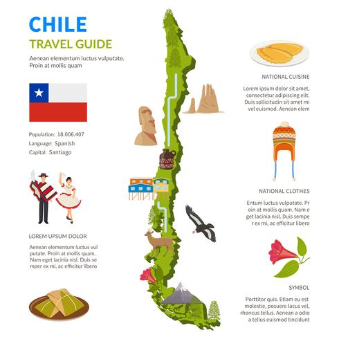 Chile infográficos layout com mapa vetor