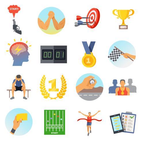 Conjunto de ícones de competição vetor