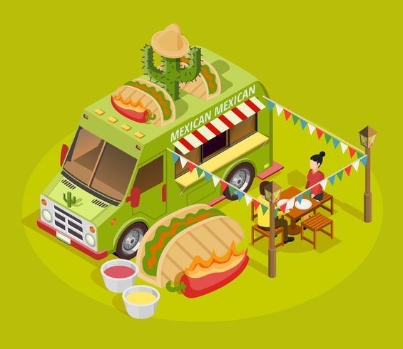 Cartaz de propaganda isométrica de caminhão de comida mexicana vetor