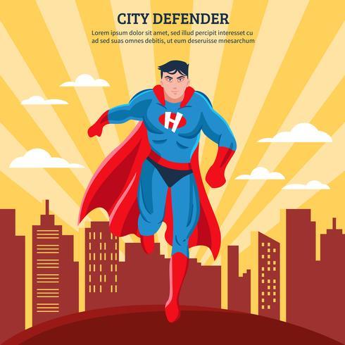 Ilustração em vetor plana defensor da cidade