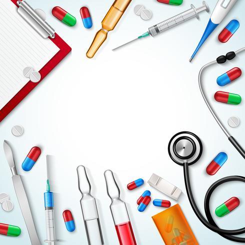 Fundo realista de instrumentos médicos vetor
