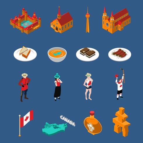 Conjunto de ícones turísticos do Canadá vetor