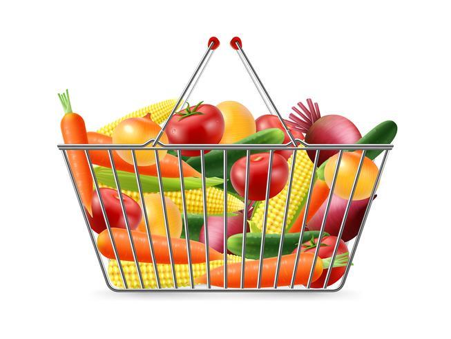 Cesta de compras Full Vegreables Realistic Image vetor