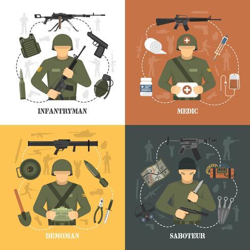 Exército Militar 4 ícones lisos quadrados vetor