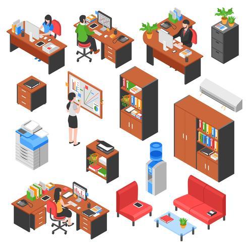Conjunto de elementos de escritório isométrico vetor
