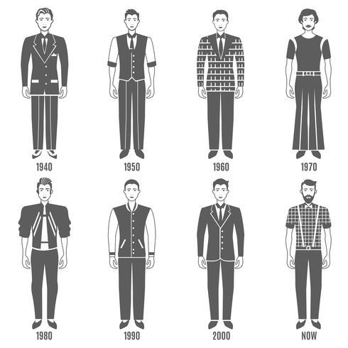 Homens Moda Preto Branco Evolução Icons Set vetor