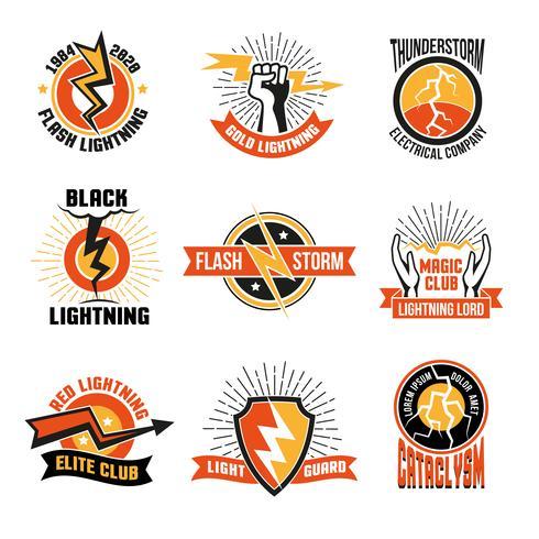 Conjunto de emblema de logotipo de relâmpago vetor
