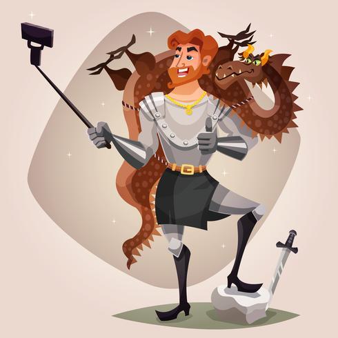 Cavaleiro com ilustração de dragão vetor