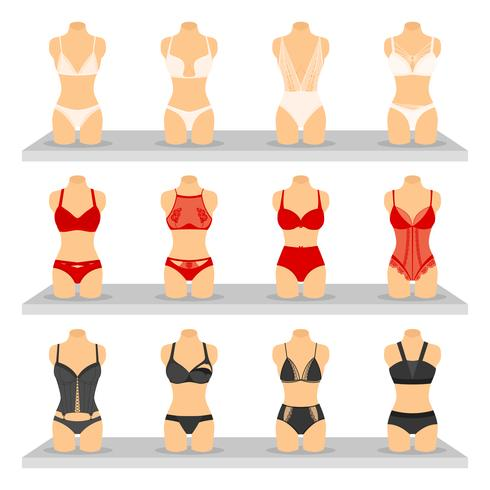 Conjunto de imagens de moda Lingerie vetor
