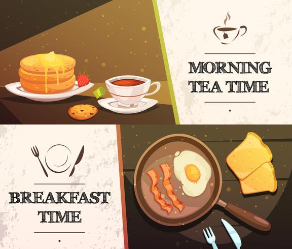 Banners horizontais de hora de café da manhã vetor