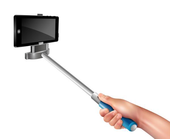 Mão com vara de selfie vetor