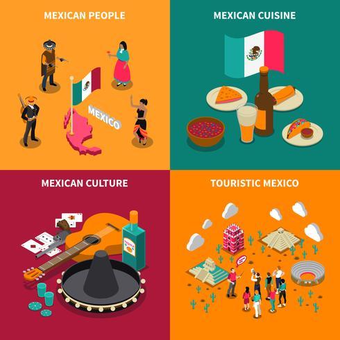 Quadrado de ícones isométrica turística de México 4 vetor