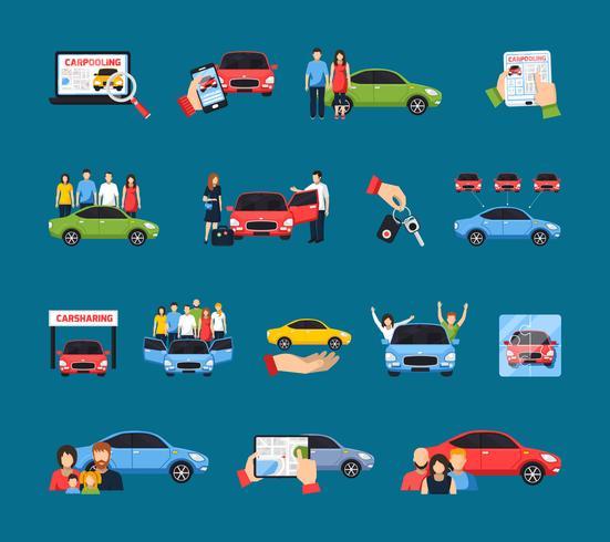 Conjunto de ícones de carros compartilhados vetor