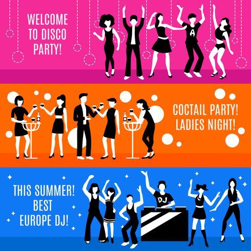 Conjunto de Banners de festa discoteca vetor