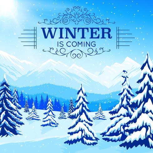 Cartaz da paisagem do inverno vetor