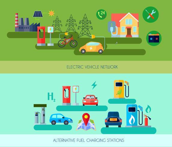 Conjunto de Banners de veículos de energia alternativa vetor