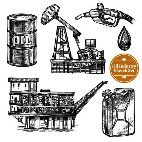 Conjunto de indústria de óleo de esboço de mão desenhada vetor