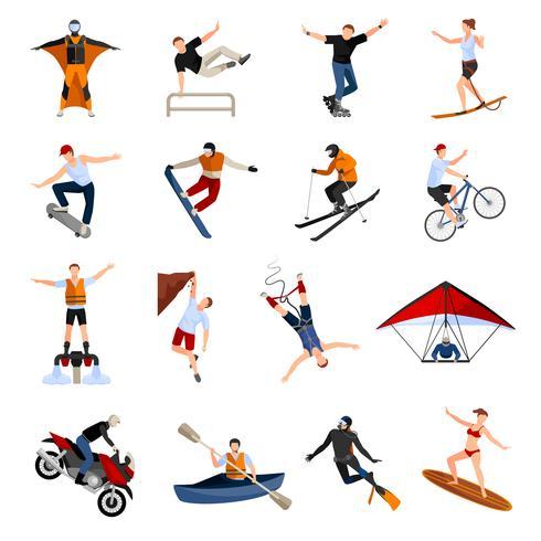 Esportes radicais pessoas ícones plana vetor