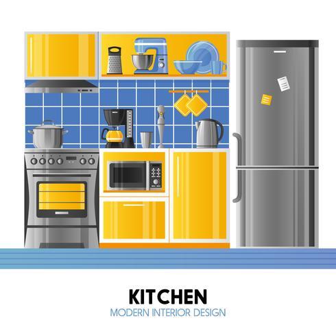Design de interiores moderno de cozinha vetor