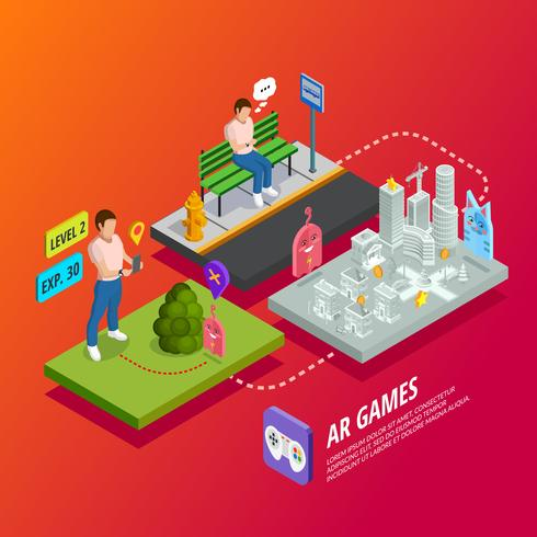 Cartaz isométrico dos jogos aumentados da realidade AR vetor