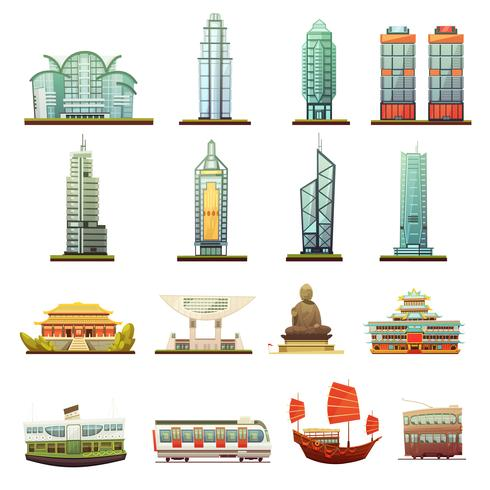 Conjunto de ícones de transporte de Marcos de Hong Kong vetor